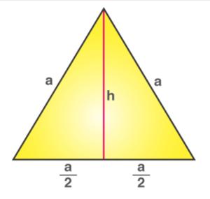 Derivando el área de un triángulo equilátero